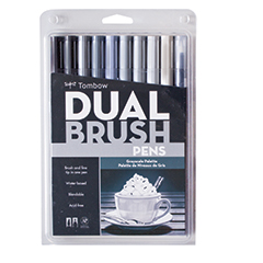 Tombow Dual Brush Pen Set Grayscale Palette