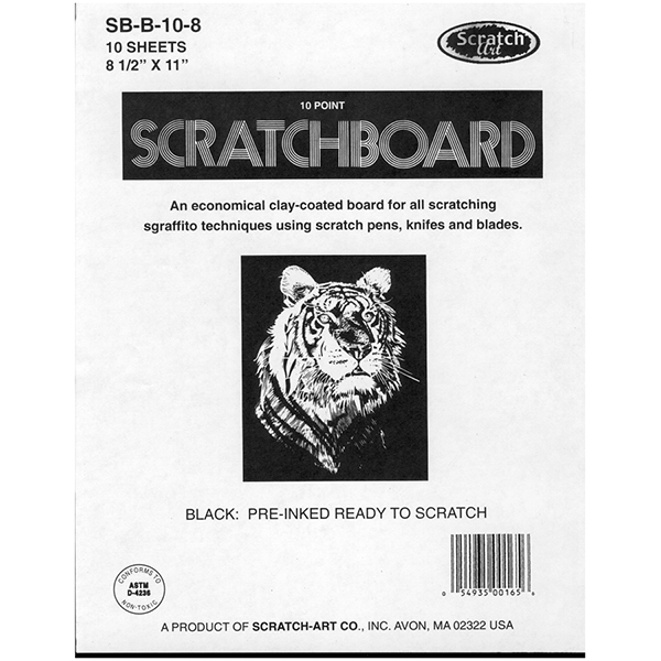 Scratch-Art Black 10 Point Scratchboard Pack of 10