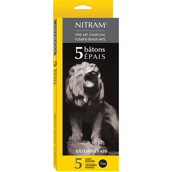 Nitram Fine Art Extra Soft Charcoal Box of 5 epais Round