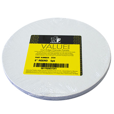 "Fredrix 8"" Round Canvas Panel White - 6 Pack"