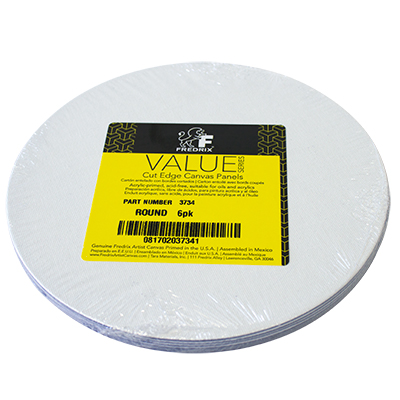 "Fredrix 12"" Round Canvas Panel White - 6 Pack"