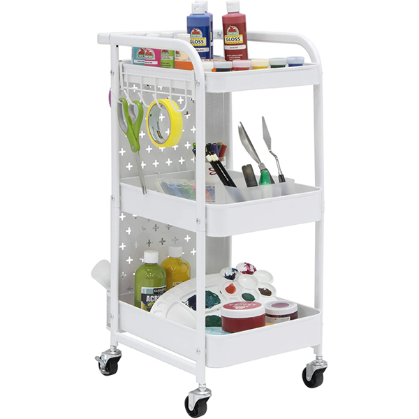 Streamline 3 Tier Multi-Use Metal Mobile Cart in white